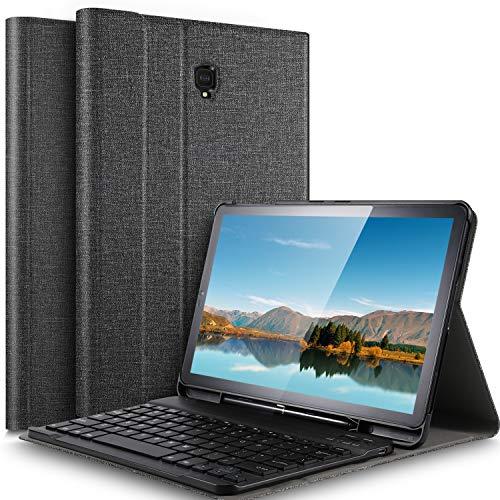 IVSO-toetsenbordbehuizing voor Samsung Galaxy Tab S4 10.5 T830N / T835N (QWERTY), slanke PU-behuizing met afneembaar draadloos toetsenbord voor Samsung Galaxy Tab S4 SM-T830N / T835N 10,5 inch, Grijs