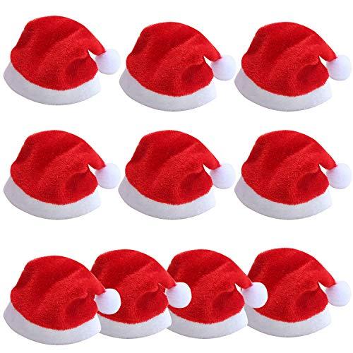 TRIXES Confezione da 10 mini cappelli di Babbo Natale per calici da champagne, bicchieri, decorazione per le feste.