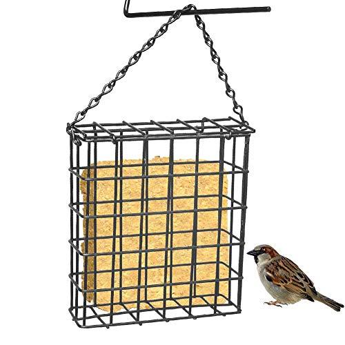 Aurely Vogelhuisje, vierkant metalen wildvogelhuisje, hangend vogelhuisje, draagbare hangende levensmiddelenkast, met ketting voor tuin in in de open lucht