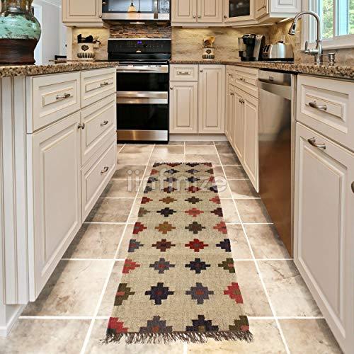 iinfinize – Alfombra de yute de lana vintage de 2 x 6 pies, alfombra turca kilim tejida a mano, alfombra decorativa para el hogar, decoración de pasillo, pasillo, cocina, alfombra de suelo
