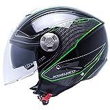 MT casco de moto jet CITY-ELEVEN DYNAMIC-Casco para moto doble pantalla, color negro y verde, (Noir / Vert), large