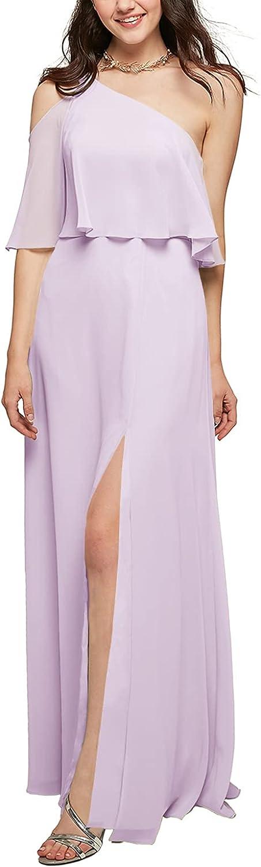 ALICEPUB Women's Chiffon Bridesmaid Dresses Long Ruffle Maxi Dress with Slit Evening Prom Formal Party