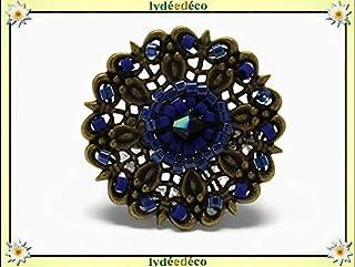 Anello tessitura perle giapponesi retrò vintage blu nero ottone incisione bronzo regolabile Natale meres Natale nonne rega...
