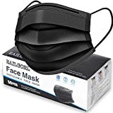 Face Mask Black, Disposable Face Masks, 3 Layer Design Protection Breathable Face Masks with Elastic earband