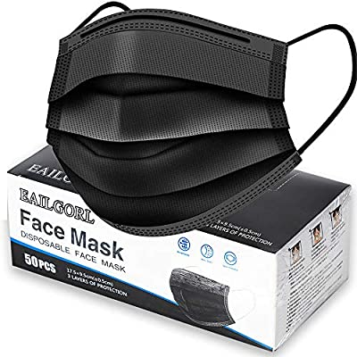 Face Mask Black, Disposable Face Masks, 3 Layer...
