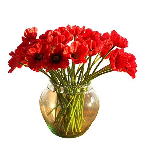 Kitchnexus Künstliche Mohnblume Gefälschte Mohn Blumenstrauß PU Poppy Flowers Deko Für Haus Garten Party Geburtstag Blumenschmuck 10 Stück