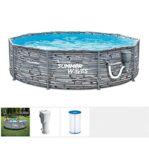Summer Waves Active 12 Foot x 33 Inch Stone Slate Print Metal Frame Outdoor Backyard Above Ground Swimming Pool Set with Filter Pump, Type D Cartridge, and Repair Patch