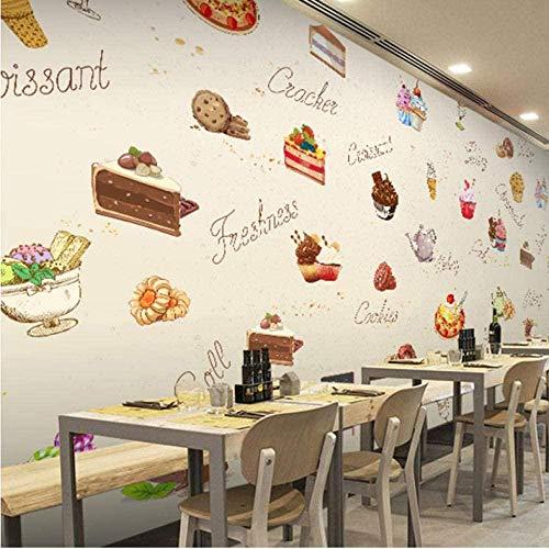 3D-Fototapete 3D-europäische Tapete Handgemaltes Kuchen-Dessert Delicious Cafe Tea Ice Cream Shop Restaurant Wallpaper Mural 140x100cm