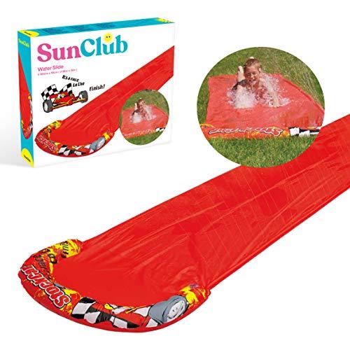 Sun Club 81180 Splash 5m x 0.9m Kids Outdoors Inflatable Spray Sprinkler Water Slide, Red