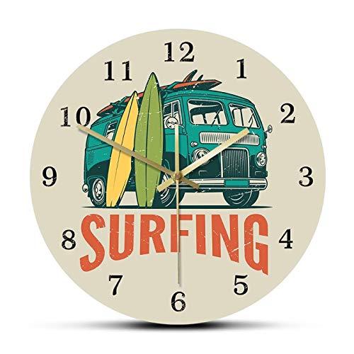 xinxin Relojes de Pared Tiempo de Surf Coche de época Kombi Campervan Reloj de Pared de Surf Viaje de Verano Van y Tabla de Surf Surf Moderno Decoración del hogar Reloj silencioso