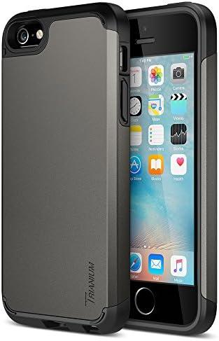 Trianium iPhone SE Case (2016 Edition), [Protak Series] Ultra Protective Bumper Dual Layer + Shock-Absorbing Cover for Apple iPhone SE & iPhone 5S & iPhone 5 – Gunmetal Gray