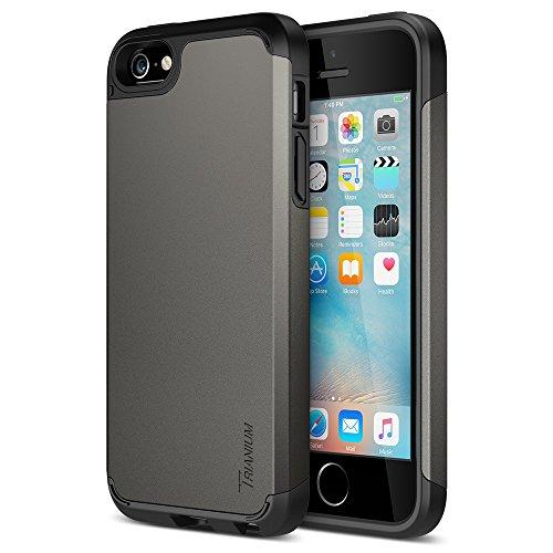 Trianium iPhone SE Case (2016 Edition), [Protak Series] Ultra Protective Bumper Dual Layer + Shock-Absorbing Cover for Apple iPhone SE & iPhone 5S & iPhone 5 - Gunmetal Gray