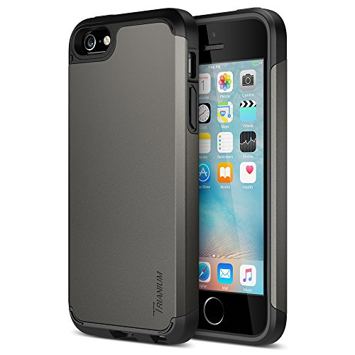 Trianium iPhone SE Case (2016 Edition), [Protak Series] Ultra Protective Bumper Dual Layer + Shock-Absorbing Cover for Apple iPhone SE & iPhone 5S & iPhone 5 - Gunmetal Gray