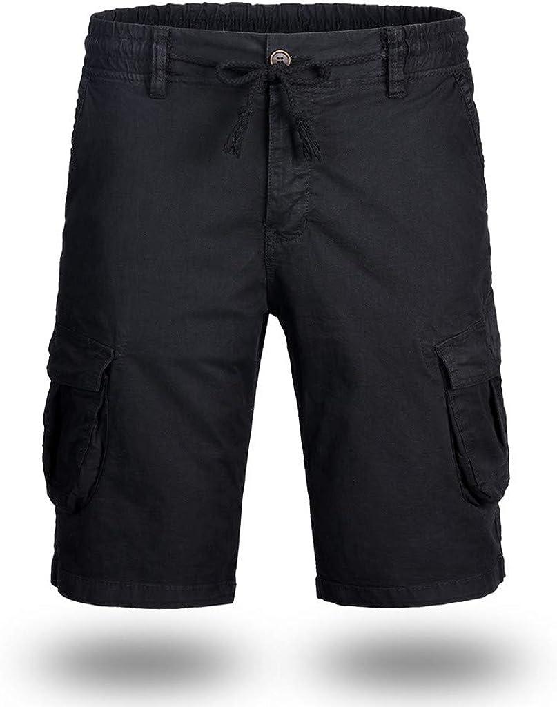 MODOQO Men's Cargo Shorts,Simple Fashion Solid Color Loose Fit Cargo Short Pants with Pocket