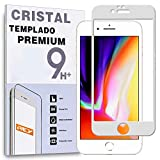 REY Protector de Pantalla Curvo para iPhone 8 Plus/iPhone 7 Plus, Blanco, Cristal Vidrio Templado...