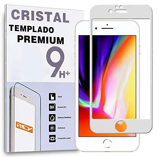 REY Protector de Pantalla Curvo para iPhone 6 / iPhone 6S, Blanco, Cristal Vidrio Templado Premium, 3D / 4D / 5D
