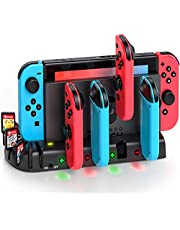 Switch Controller Charging Dock Station Compatible with Nintendo Switch & OLED Model Joycons, KDD Switch Controller Charger Dock Station with Upgraded 8 Game Storage for Nintendo Switch Joycon & Games