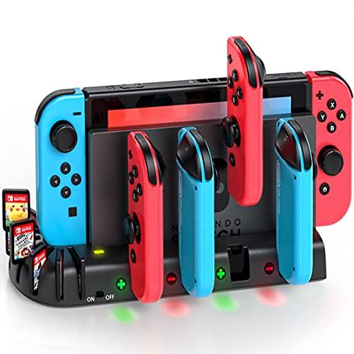 KDD Cargador Mandos Switch para Nintendo Switch Joy-con, Cargador Nintendo Switch con 8 Ranuras de Juego, Cargador Switch con Indicador LED para Nintendo Swtich
