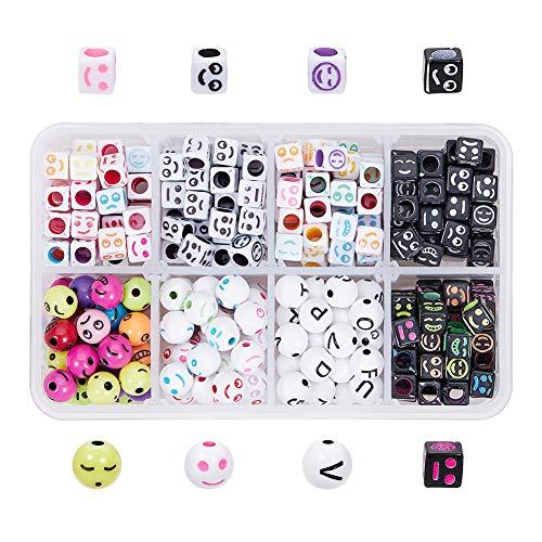 PandaHall 365 Pezzi 8 Stili Sorriso Perline per cubo Espressioni di Smiley Confezione Divertente Acrilico Emoji Distanziatore Rotondo Perline sciolte per Gioielli e Braccialetti Fai da Te
