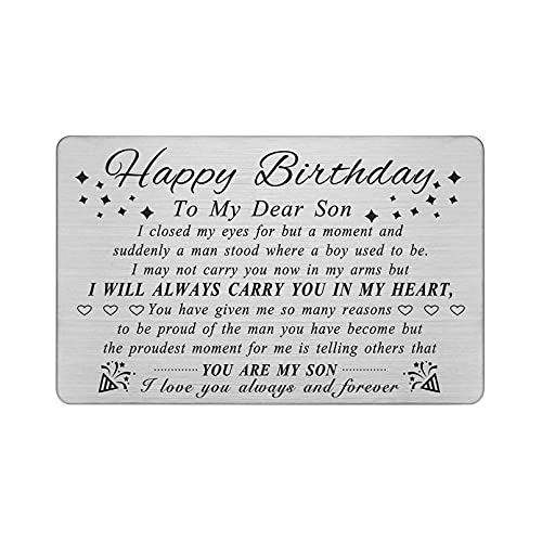 DEGASKEN Son Birthday Card Adult, Happy Birthday Gifts Ideas for Son Unique, Personalized Steel Engraved Wallet Card