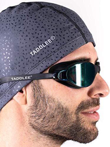 TADDLEE Mannen Zwemmuts PU Stof Silicone Lycra Zwemhoed Zwembad Waterdicht Sport Volwassen Zwemmuts Accessoires Grote Maat Outdoor(Grijs)