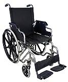 Mobiclinic, modelo Giralda, Silla de ruedas plegable, ortopédica, para minusválidos, reposapiés y reposabrazos extraíbles, color Azul y Negro, asiento 46 cm, ultraligera