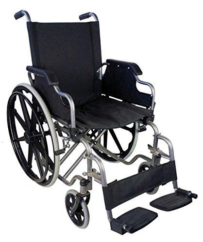 Mobiclinic, Giralda, Silla de ruedas ortopédica, plegable, autopropulsable, para minusválidos y ancianos, reposapiés extraíbles y reposabrazos abatibles, ultraligera, negro, asiento: 43 cm 🔥
