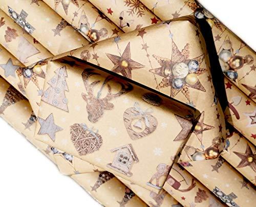 Premium Weihnachts Geschenkpapier Retro Ökologisches Recycling Papier 8 Rollen a`1m x 70cm Natur Geschenkverpackung für Weihnachten Kraftpapier … (8 Rollen)