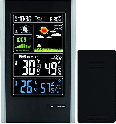 Estación Meteorológica Sensor Inalámbrico de Interior / Exterior y Puerto de Carga USB - TG646 Reloj de la Estación Meteorológica con Iconos de Color para Predicción / Temperatura con Alertas