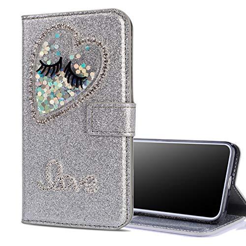 Nadoli Leder Hülle für Galaxy A50,Luxus Bling Glitzer Diamant 3D Handyhülle im Brieftasche-Stil Wimper Herz Flip Schutzhülle Etui für Samsung Galaxy A50,Silber