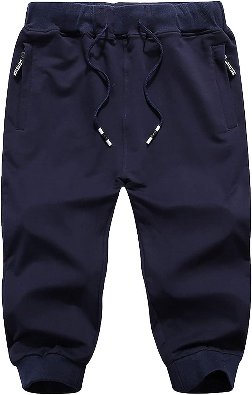aihihe Mens Shorts Casual Comfortable Workout Shorts Drawstring Zipper Pockets Elastic Waist Sweatpants Bermuda Shorts