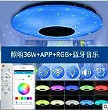 Winbang Luz de techo LED, música inteligente Luces de techo LED RGB Lámpara de techo regulable con control remoto Bluetooth...