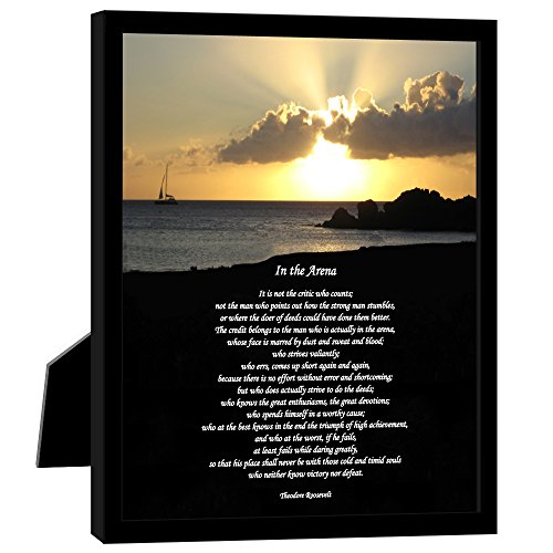 Poetry Gifts in The Arena Theodore Roosevelt Famous Inspirational Speech, 8x10 inch Frame