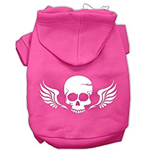 Mirage Pet Products Skull Wings Screen Print Pet Hoodies, Size 12, Bright Pink