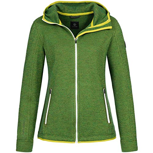 GIESSWEIN Merino Jacke Svenja - leichte Damen Jacke aus 100% Merinowolle, Woll-Filz Sportbekleidung, atmungsaktive Walk Weste mit Kapuze, Outdoor Wool Jacket, für Sport & Freizeit