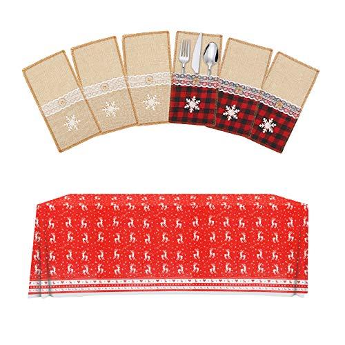 MEZOOM 6 Piezas Bolsita para Cubiertos Navidad con Mantel Rojo Navideño Copo de Nieve Alce Porta Cubiertos Navideños Arpillera para Cuchillos Tenedor Cuchara Decoración de Mesa de Navidad Año Nuevo