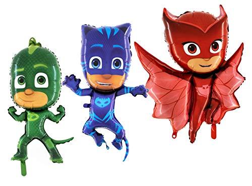 Toyland® Paquete de 3 globos de papel de aluminio para máscara de PJ – Owlette, Ghekko y CatBoy – PJ Mask Regalos