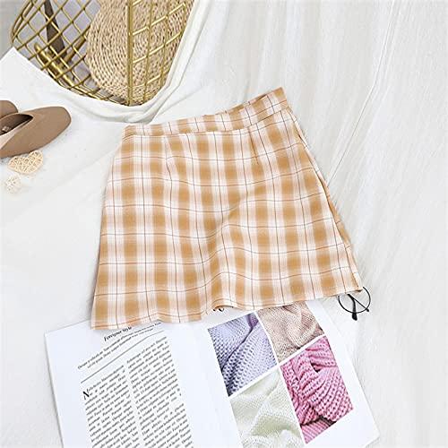 Secuos Falda Mujer Estilo De Muy Buen Gusto Mujeres Faldas A Cuadros Mini Cintura Alta Casual Ladies A-Line...