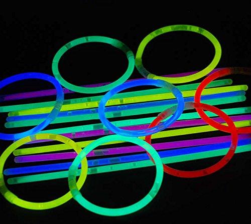LED-Highlights Lot 5 * 200 mm 100 mélangées – Lumière à craquer Bracelets – Bracelets Lumineux, 10 Rollen a 100 Knicklichter, 2G10