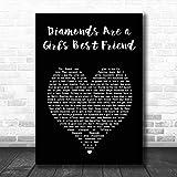 Diamonds are a Girl's Best Friend Black Heart Song Lyric Print
