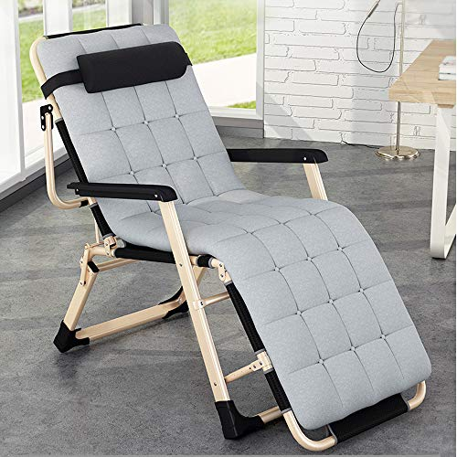 KILLM Deck Chair,Foldable Camping Chair,Sun Lounger Heavy Duty Zero Gravity Reclining, Folding Garden Sun Lounger Chair with Adjustable Padded Headrests 178 60 40cm (Gray + Thick Mat),A