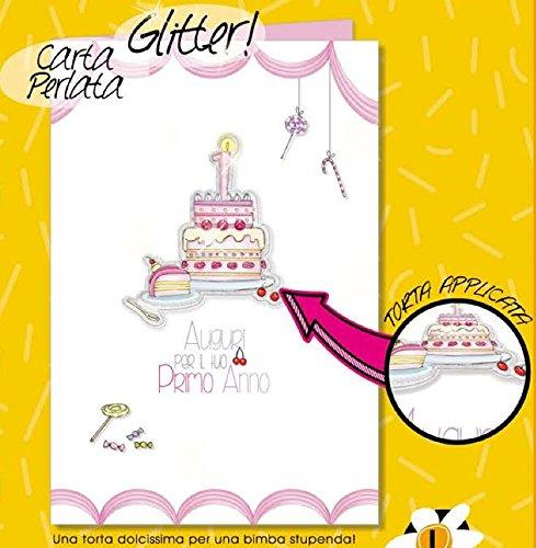 Verjaardagskaart voor de eerste verjaardag 1 jaar voor meisjes