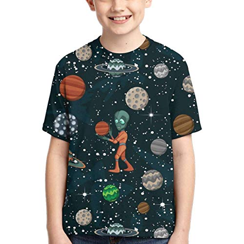 XCNGG Niños Tops Camisetas Youth Short Sleeve T-Shirts Space Cartoon Planets Kids Casual Graphics Tees