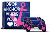 PS4 Console Designer Skin for Sony PlayStation 4 System plus Two(2) Decals for: PS4 Dualshock Controller Anchor by 247Skins