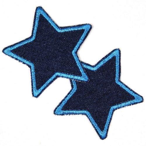 Flicken zum aufbügeln Set Sterne 2 Bügelflicken auf blue Jeans blau klein 7cm Aufnäher als Bügelbilder geeignete Applikationen und Stern Accessoires gestickt