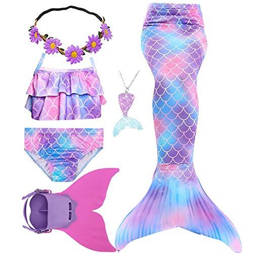 Conjunto de bikini de cola de sirena con diseño de arco iris, monofina, artículos de baño para niñas y niños, regalo, Dh101, 7-8...
