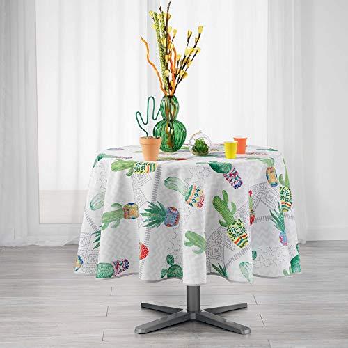 Nappe ronde 180 cm Melo Cactus Blanc