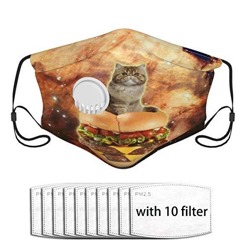 Burger Katze im Weltraum Lustiger Hamburger Jammer Staubgesichtsschal Co_V-Er Mund Co_V-Er Mit 10 Filtern Mit Einatemventil