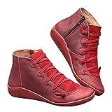 2019 Los Zapatos de Botines Planos para Mujer, Soporte del Arco, Cómodos Botines de Deslizamiento Plano para Mujer, Zapatos Casuales para Mujer Otoño Invierno con Hebilla con Cremallera (42, Rojo)