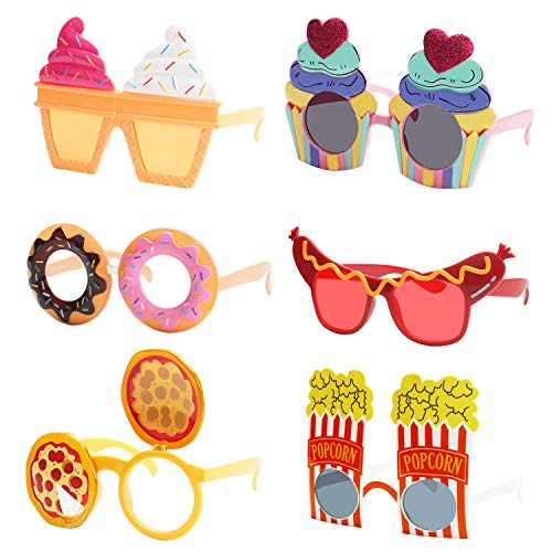 Ocean Line Funny Donut Glasses Set - 6 Pairs Birthday Sunglasses, Pizza Ice Cream Party Favors, Fun Halloween Photo Booth Props, Novelty Bachelorette Party Supplies Decoration